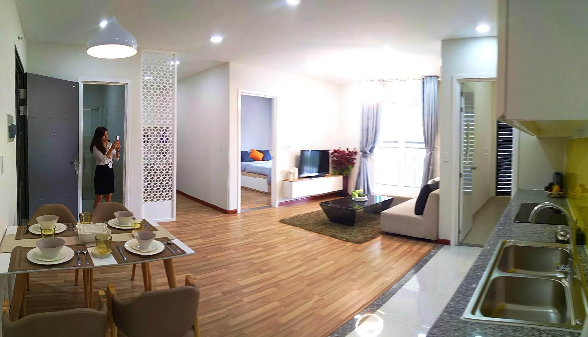 Ảnh thực tế nhà mẫu căn 1 phòng ngủ 1 phòng đa năng 52,13 m2