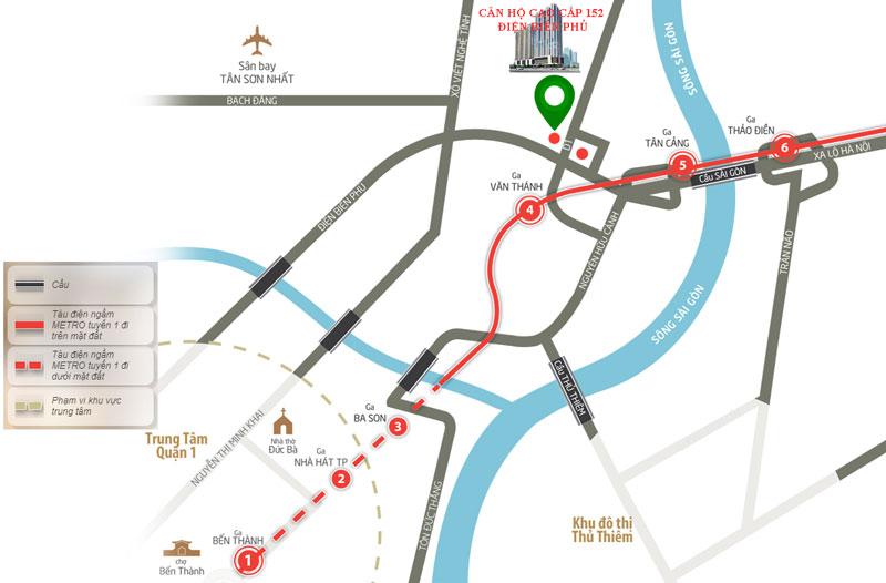 Sơ đồ vị trí dự án văn phòng và căn hộ 152 điện biên phủ, phường 25, quận bình thạnh, thành phố hồ chí minh